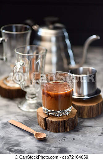 Milk Coffee Vietnamese Style Prepared In Drip Coffee Maker Phin On Dark Background Copy Space