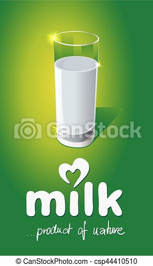 Milk design with glass on green background - vector illustration - csp44410510