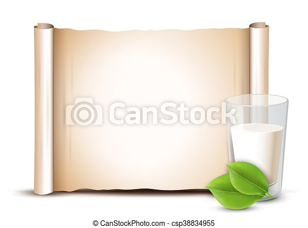 milk in glass green leaves paper scroll background template
