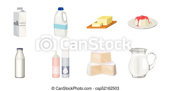 Milk product icons in set collection for design. Milk and food vector symbol stock web illustration. - csp52162503