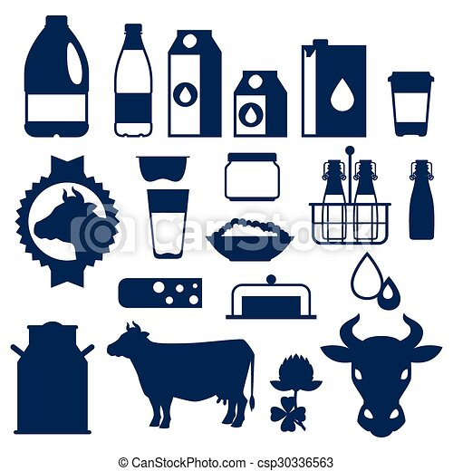 Milk set of dairy products and objects - csp30336563
