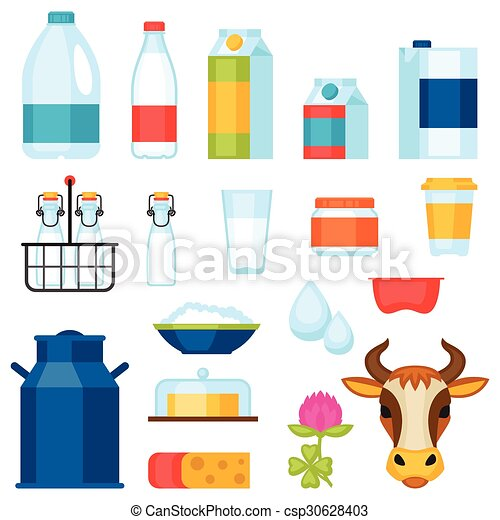 Milk set of dairy products and objects - csp30628403