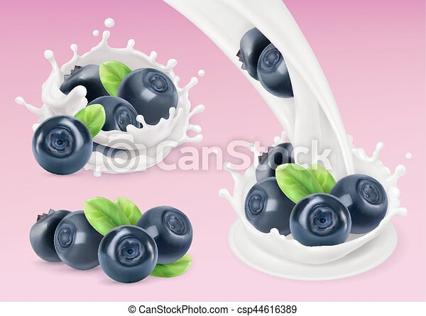 Milk splash and Blueberry. 3d vector object. Natural dairy products - csp44616389