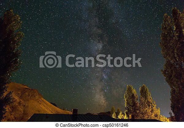 Milky Way over Farmland in Central Oregon - csp50161246