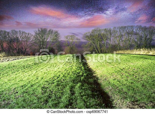 Milky Way over the field. - csp69067741