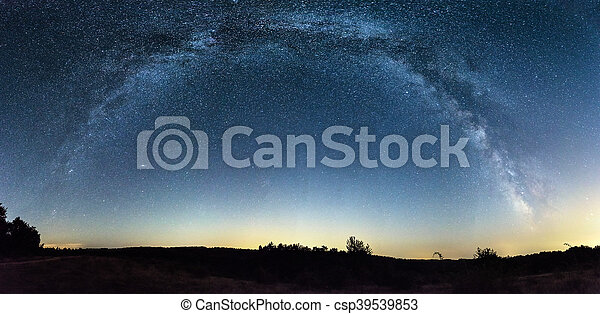 Milky Way panorama over a field - csp39539853