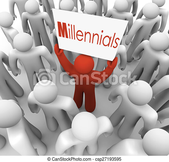 Millennials Man Holding Sign Crowd Young People Generation - csp27193595