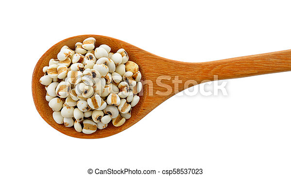Millet in wood spoon isolated on white background - csp58537023