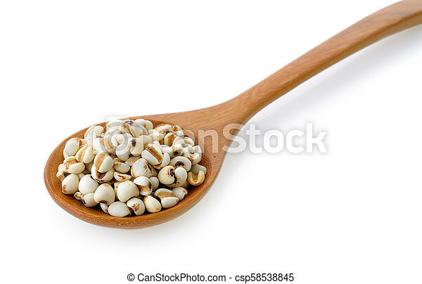 Millet in wood spoon isolated on white background - csp58538845