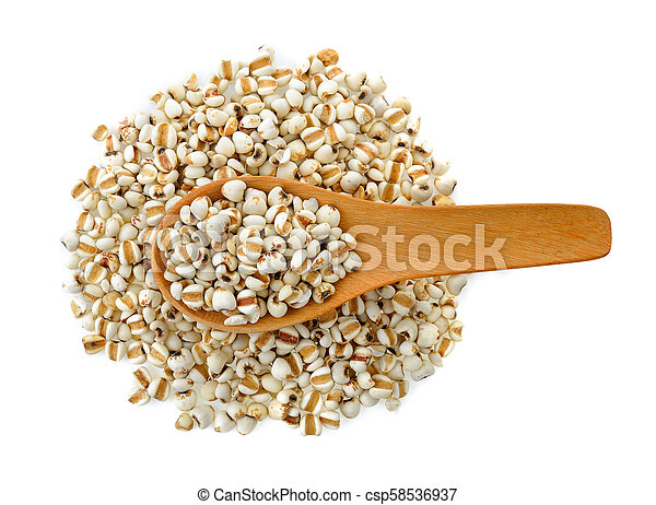 Millet in wood spoon isolated on white background - csp58536937