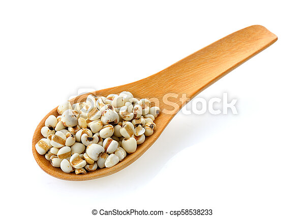 Millet in wood spoon isolated on white background - csp58538233