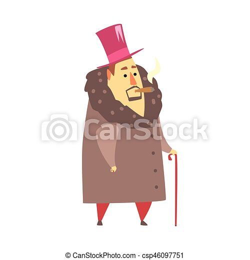 Millionaire Rich Man In Coat And Top Hat Smoking Cigar ,Funny Cartoon Character Lifestyle Situation - csp46097751