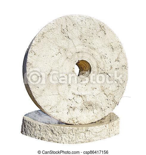 Millstone isolated on white background - csp86417156