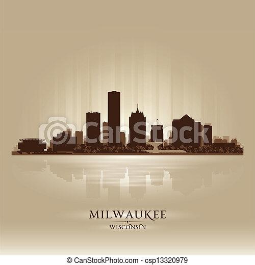 Milwaukee Wisconsin city skyline silhouette - csp13320979