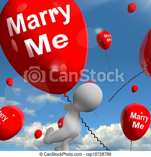 mim, representa, amantes, casar, obrigação, proposta, balões - csp18728789