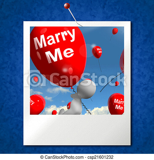 mim, representa, foto, casar, obrigação, amante, proposta, balões - csp21601232