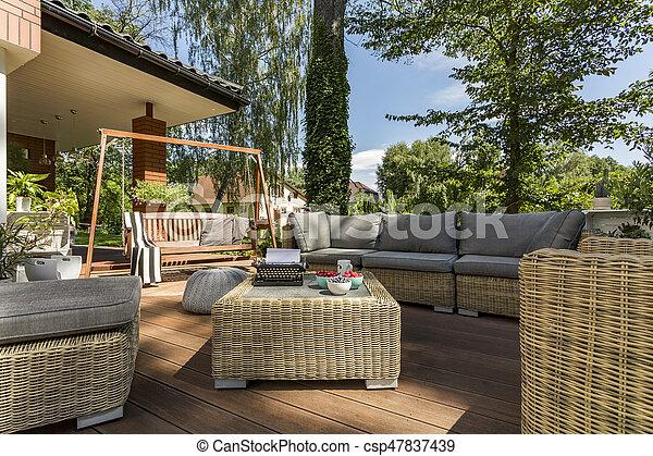 Mimbre Terraza Cómodo Muebles