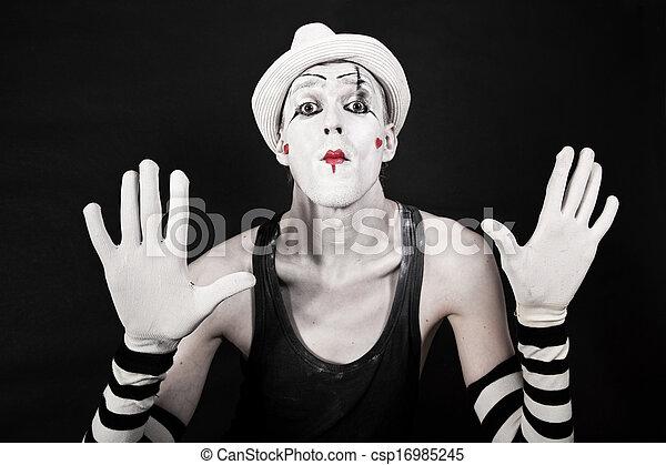 mime, rayé, gants, chapeau blanc - csp16985245