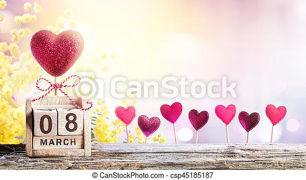 mimoza, tło, 8, serca, kalendarz, dzień, kobiety - csp45185187