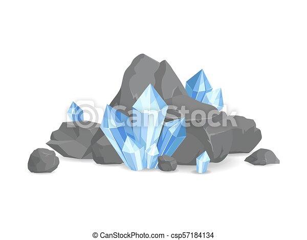 minéraux, vecteur, collection, illustration, rochers - csp57184134