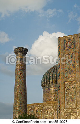 Minarets of Registan, Samarkand, Uzbekistan - csp5519075