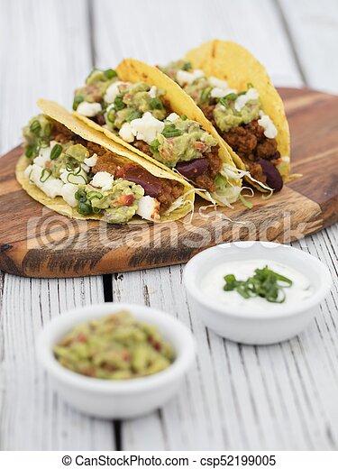 minced beef tacos - csp52199005
