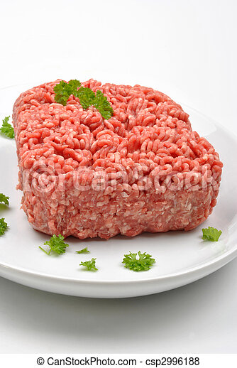 minced meat with parsley on a plate - csp2996188