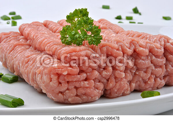 minced meat with parsley on a plate - csp2996478