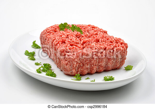 minced meat with parsley on a plate - csp2996184