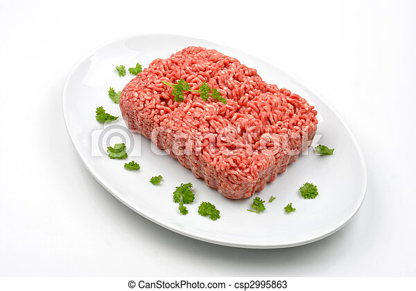 minced meat with parsley on a plate - csp2995863