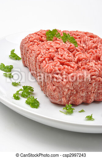 minced meat with parsley on a plate - csp2997243