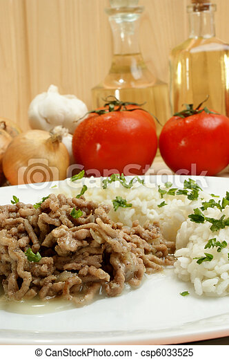 Minced meat with rice on a white plate - csp6033525