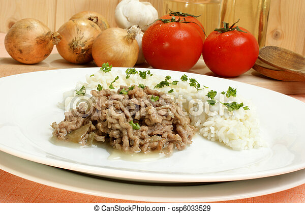 Minced meat with rice on a white plate - csp6033529