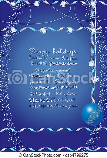 minden, sok, felett, nyelvek, ábra, ünnepek, vektor, felfog, elküld, ők, azt, világ, üzenet, boldog, barátok, -e, köszöntések - csp4799275