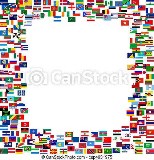 minden, zászlók, keret - csp4931975