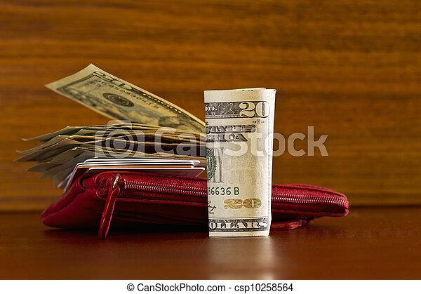 mindenfelé, anyagbeszerző, hitel, kép, modern, grain;, levéltárca, pénznem, elhelyezett, amerikai, erdő, kártya, items;, fogyasztó, vagy, piros - csp10258564