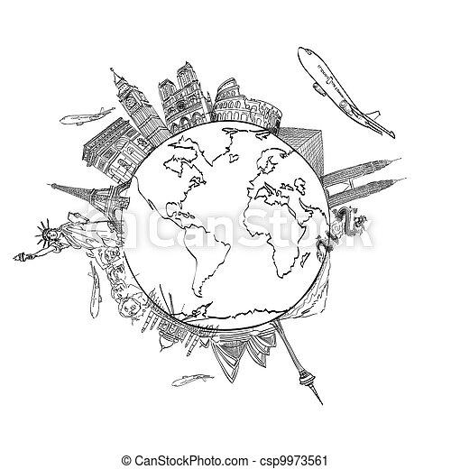 mindenfelé, utazás, whiteboard, világ, álmodik, rajz - csp9973561