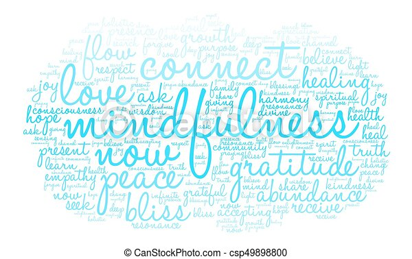 mindfulness, nuage, mot - csp49898800
