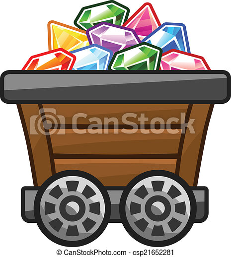 Mine cart with diamonds. Mine cart with colourful diamonds for game.