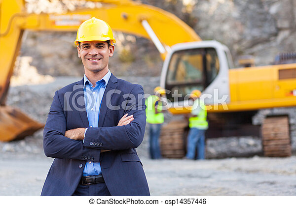 mine manager with arms crossed - csp14357446