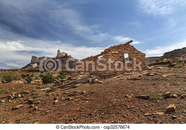 Miner Cabin at Abandoned Radium Mine in Utah - csp32576674