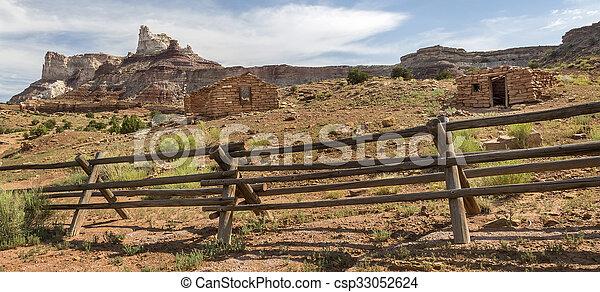 Miner Cabins at Abandoned Radium Mine in Utah - csp33052624