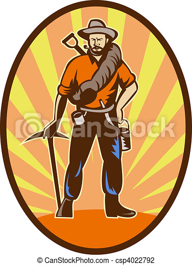 Miner, prospector or gold digger with pick axe and shovel standing front - csp4022792