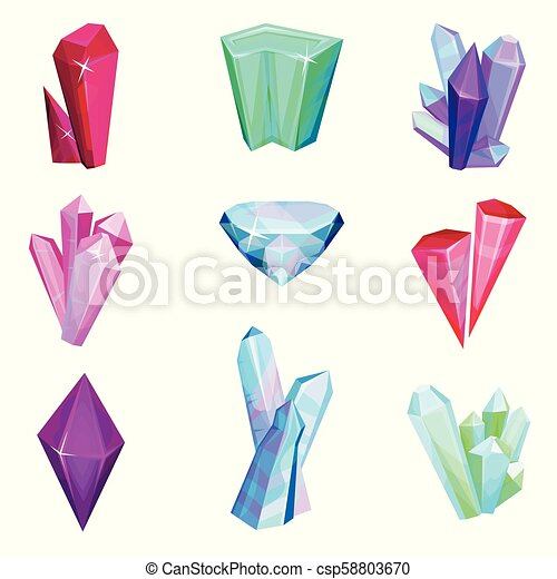 Mineral crystalic precious stones set, colorful crystal gems vector Illustration on a white background - csp58803670