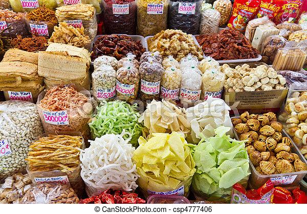 Comida en el mercado asiático en Ho Chi Minh City, Vietnam - csp4777406