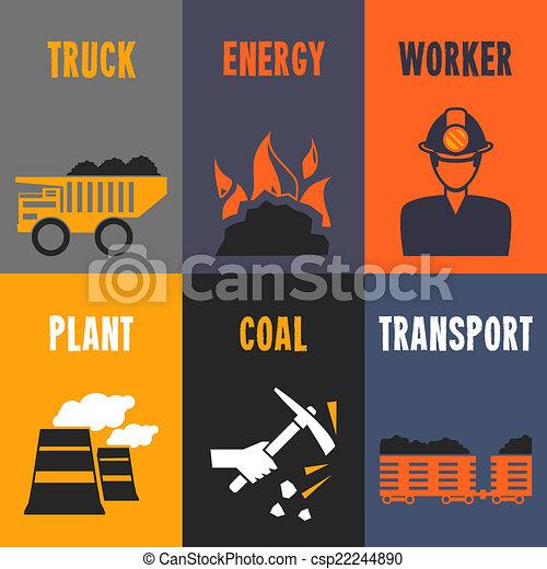 mini, affiches, industrie, charbon - csp22244890