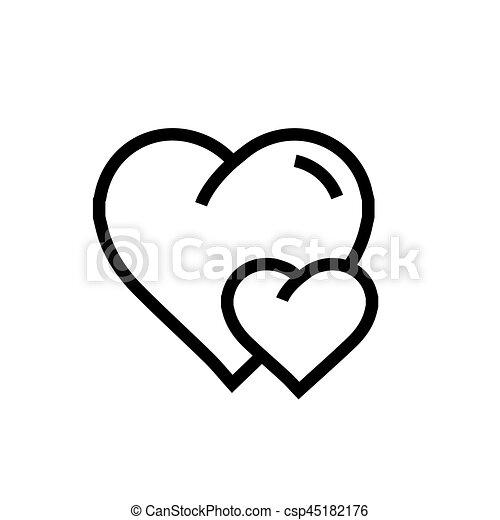 Coeur Vecteur Dessin Animé Icône Deux