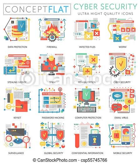 Mini, cuber, concepto, prima, elements., protección, iconos, color ...
