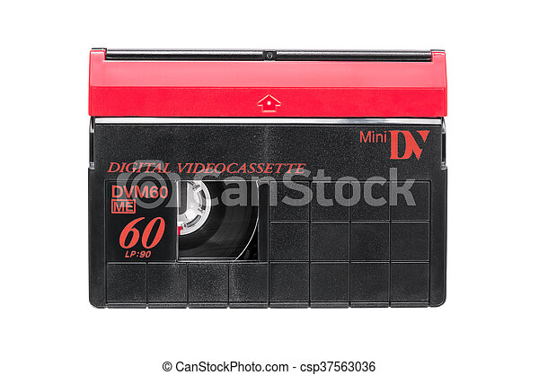 Mini DV video cassette on white background - csp37563036