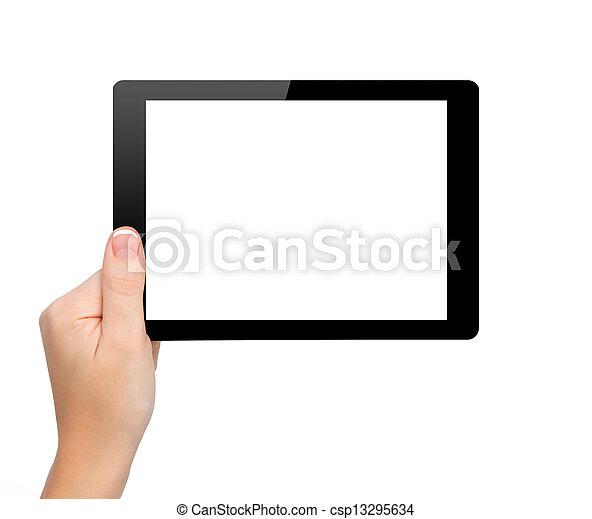 mini, femme, tablette, écran, isolé, main, prise - csp13295634